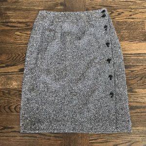 NWOT Talbots Black + White Wool Button Down Skirt